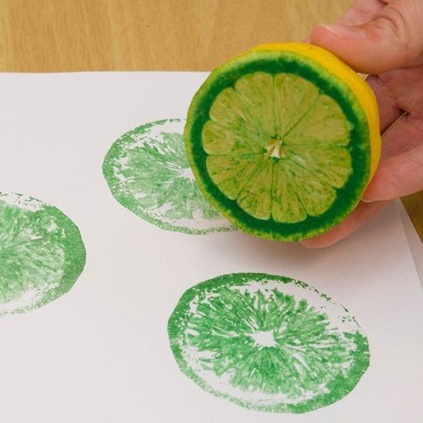 Easy Art Ideas for Kids Room Decor: diy fruit prints for wall art (chicagobotanic)
