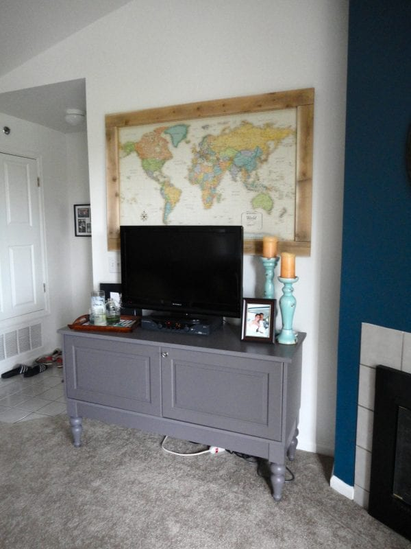 DIY Wall Decor Ideas: large map wall art above the tv (jennaandcalder)