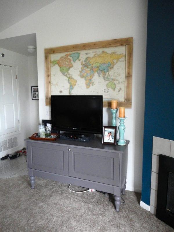 diy large map art above the tv (jennaandcalder)