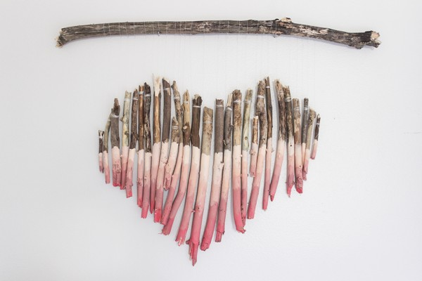 Diy Large Wall Art, Driftwood Stick Branch Heart Wall Art Painted, Shades Of Blue Interiors