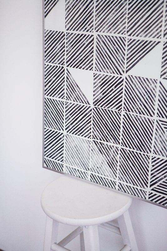 Easy Art Ideas for Kids Room Decor: diy modern geometric stamped art (emmadime)