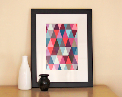 Easy Art Ideas for Kids Room Decor: diy paint chip triangle art (How About Orange)