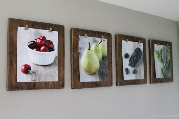 diy photo clipboard display for pictures and art prints (Love Grows Wild)