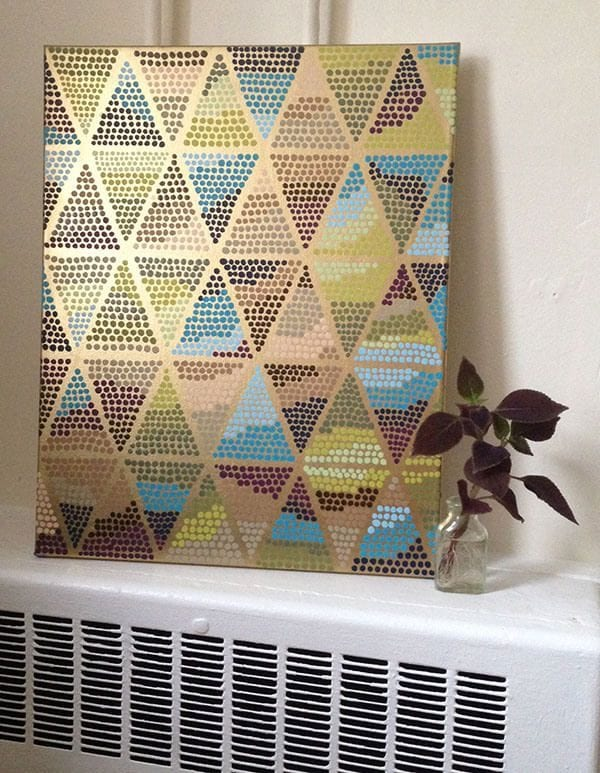 Easy Art Ideas for Kids Room Decor: diy pointillism painted triangles (Erin on the Run)