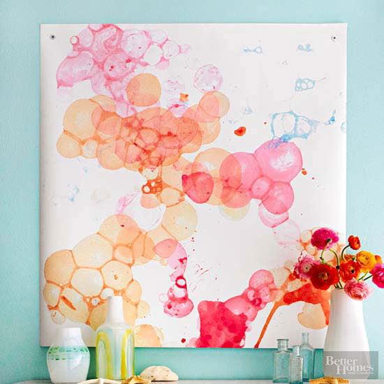 Easy Art Ideas for Kids Room Decor: diy watercolor bubble art (BHG)