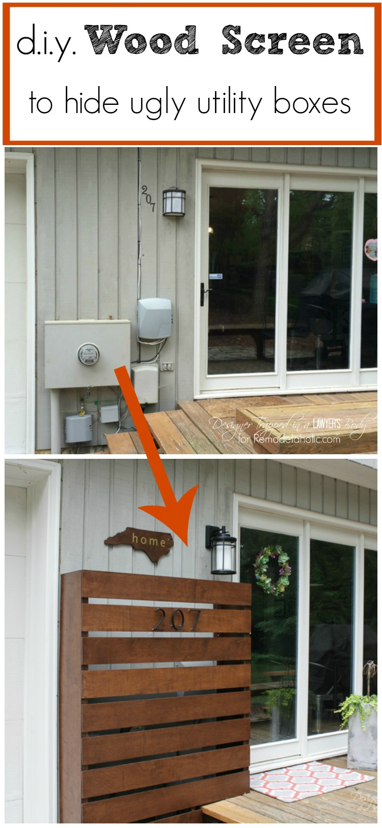 Remodelaholic Diy Wood Screen To Hide Utility Boxes