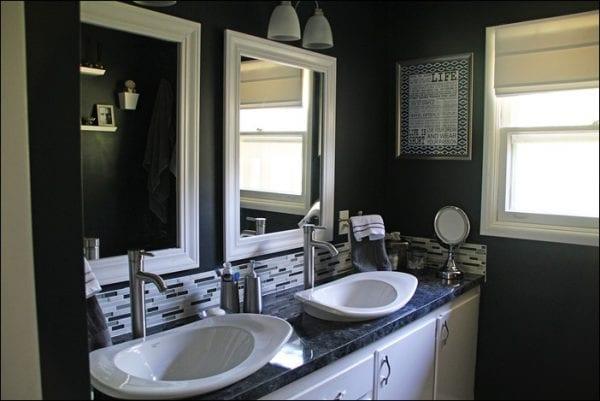 dramatic black painted bathroom remodel