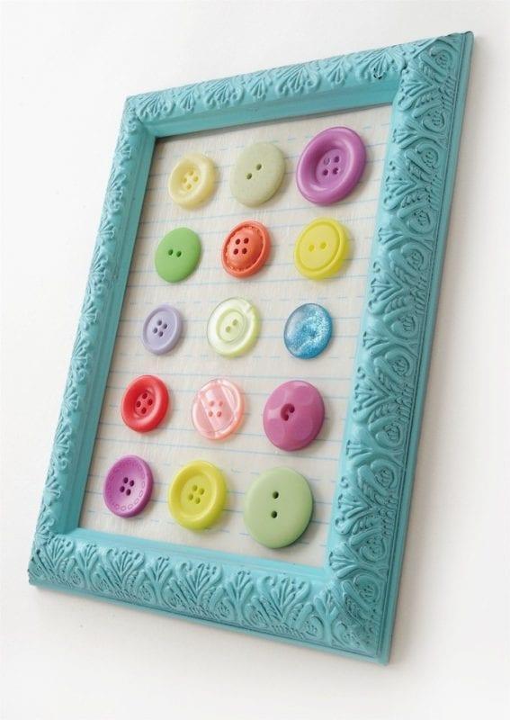 Easy Art Ideas for Kids Room Decor: easy colorful button art for kids (ModPodge Rocks)