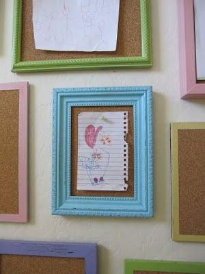 Easy Art Ideas for Kids Room Decor: easy corkboard frame gallery (Shannon Makes Stuff)