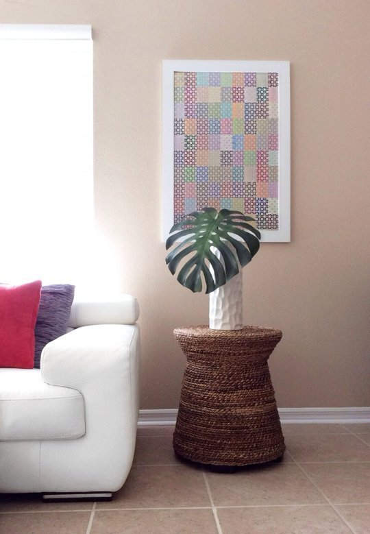 Easy Art Ideas for Kids Room Decor: easy diy art - paint chip art with a metal overlay (Apartment Therapy)