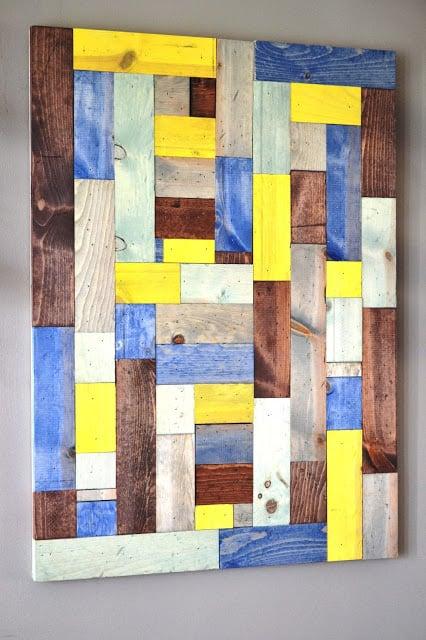 easy diy wood scrap wall art (This Girls Life)