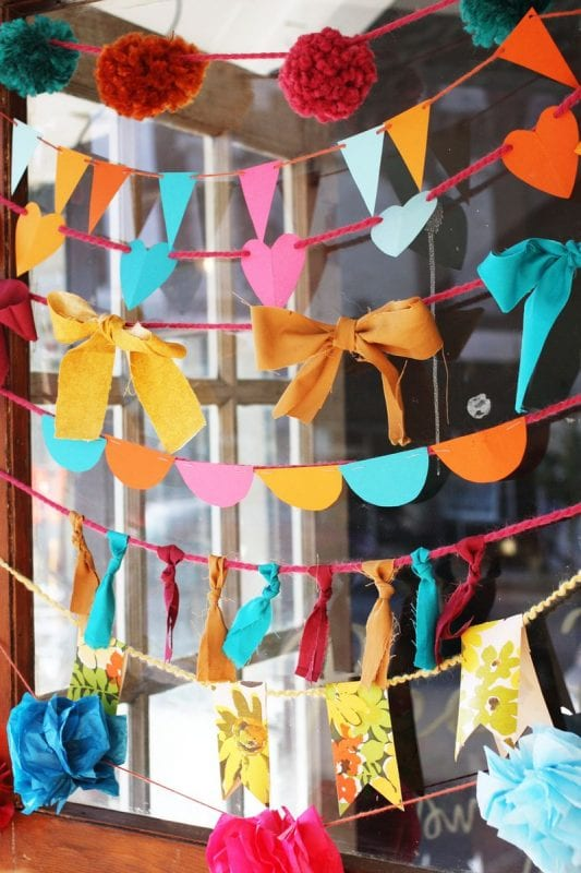 easy garlands kids can make to decorate (A Beautiful Mess)