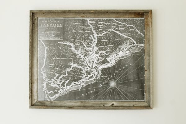 engineer printed map with diy wood frame (via Life Made Lovely)