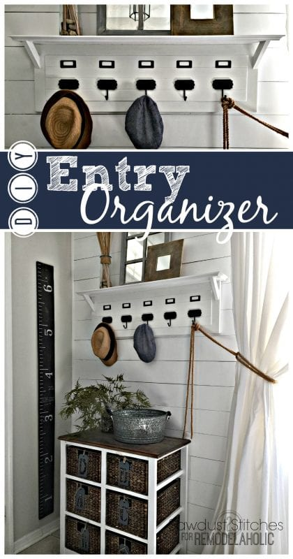 Build an easy and inexpensive entry organizer, inspired by Pottery Barn, to keep your hats and jackets tidy.
