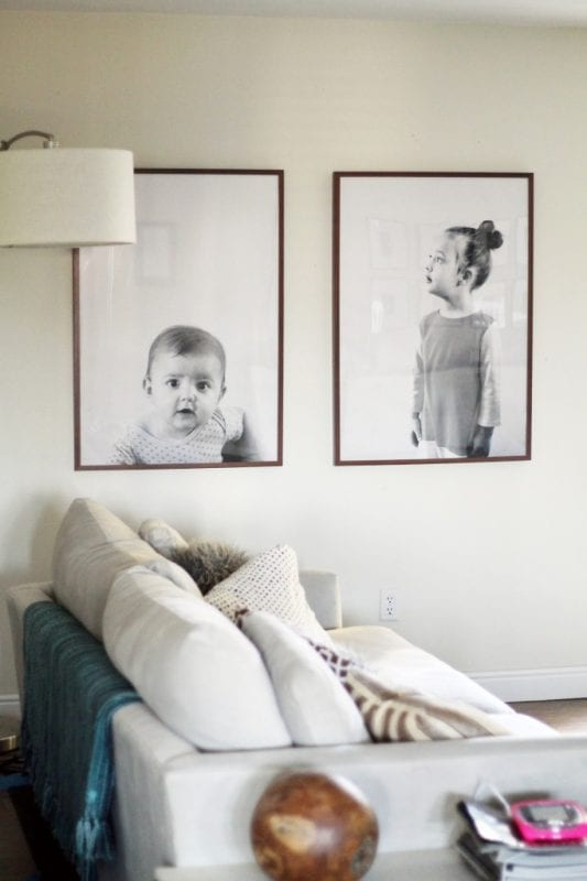 DIY Large Wall Decor Ideas: extra large engineer prints for kids photos (Chris Loves Julia)
