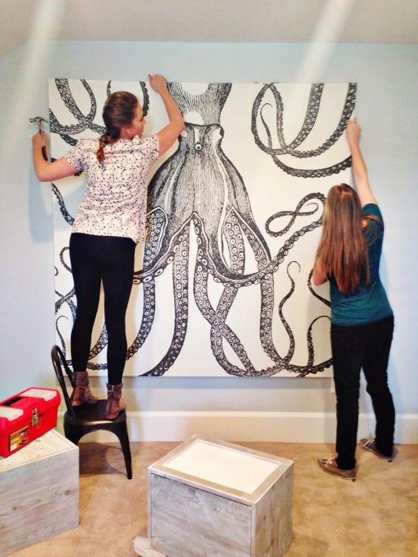 DIY Wall Decor Ideas: extra large wall art from a shower curtain (6th Street Design School)