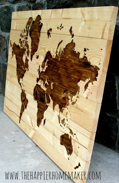 DIY Wall Decor Ideas: extra large wood wall map art (The Happier Homemaker)