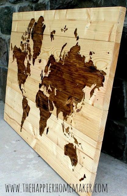 Elegant extra large wood wall map art The Happier Homemaker