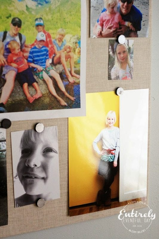 fabric covered magnet board photo display (Entirely Eventful Day)