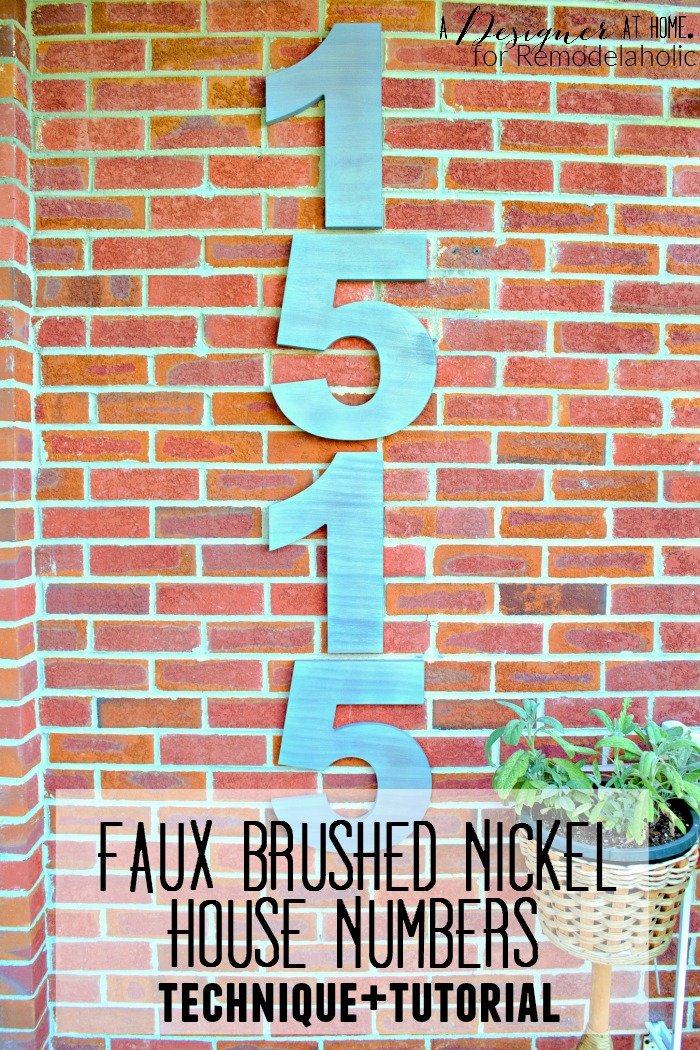 Give your home some curb appeal with extra large modern house numbers, in a DIY faux brushed nickel finish. Made from inexpensive basic wood shapes!