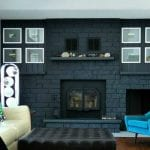 feat before and after dark gray painted fireplace wall