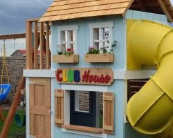 feat build an awesome kids clubhouse with slide, Her Toolbelt