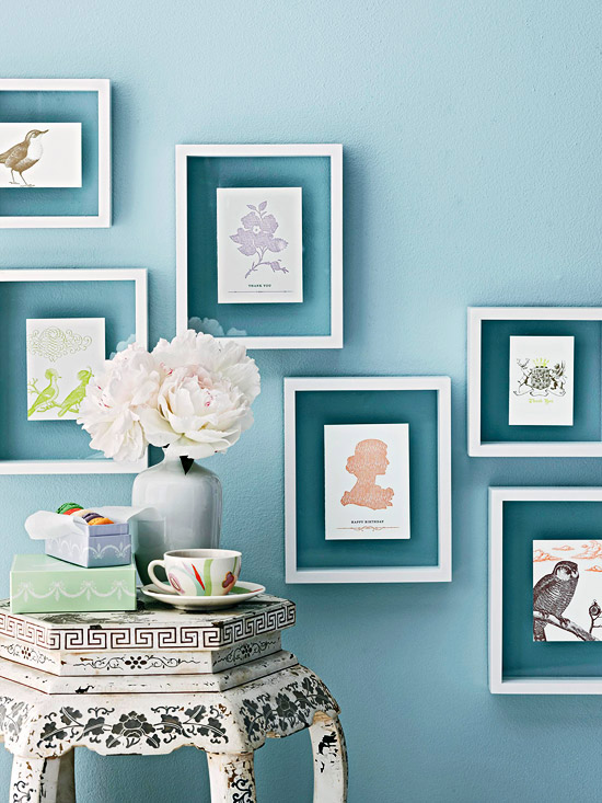 frame cards and small art prints or photos with floating frames (BHG)