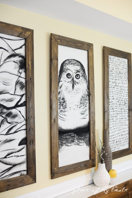 giant hand-sketched DIY large wall art and DIY frames (Place of My Taste)