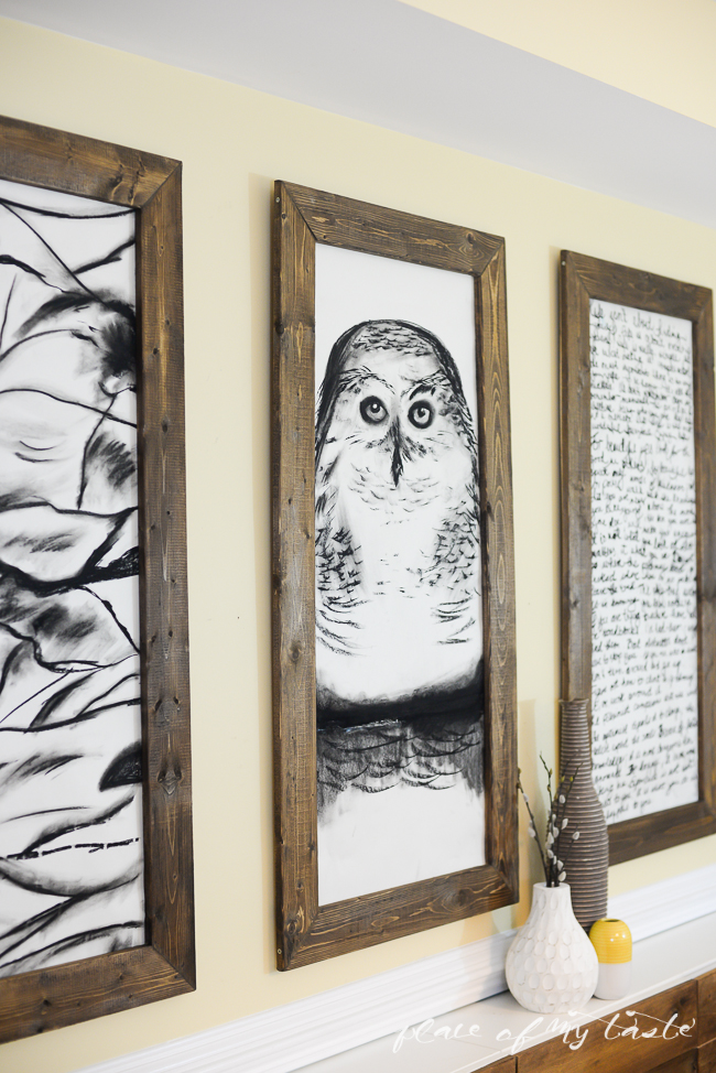 Fabulous giant hand sketched wall art and DIY frames Place of My Taste