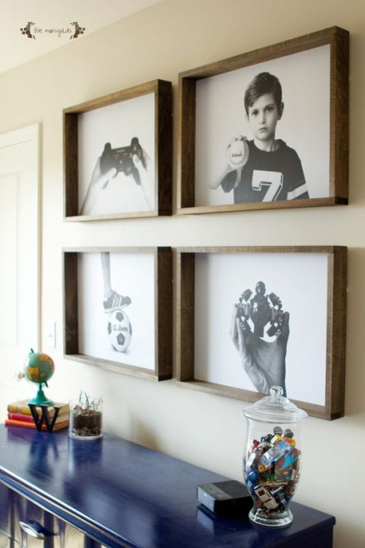 DIY Large Wall Decor Ideas: group of engineer prints with wood frames, diy wall art (Five Marigolds)