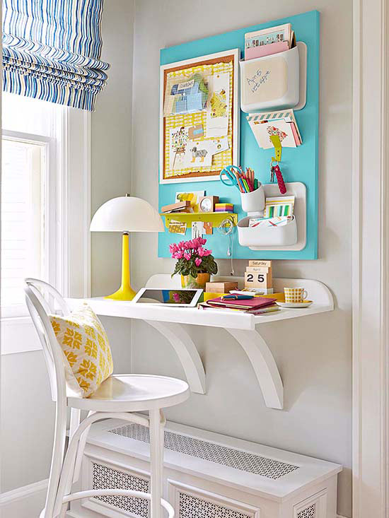 Superior Home Office Wall Decor Ideas Part - 12: Home Office Corner With Wall Desk (BHG)