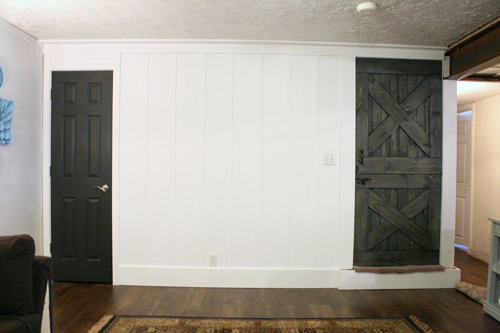Interior Door In Iron Ore, With A Real Wood Dutch Barn Door Colorwashed And  Stained
