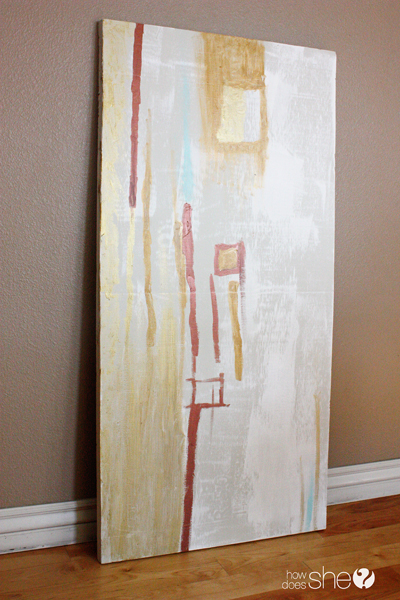 large abstract DIY art painted on insulation foam (How Does She)