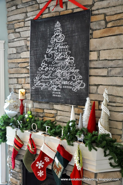 large chalkboard style engineer print hung over the mantel with ribbon (Evolution of Style)