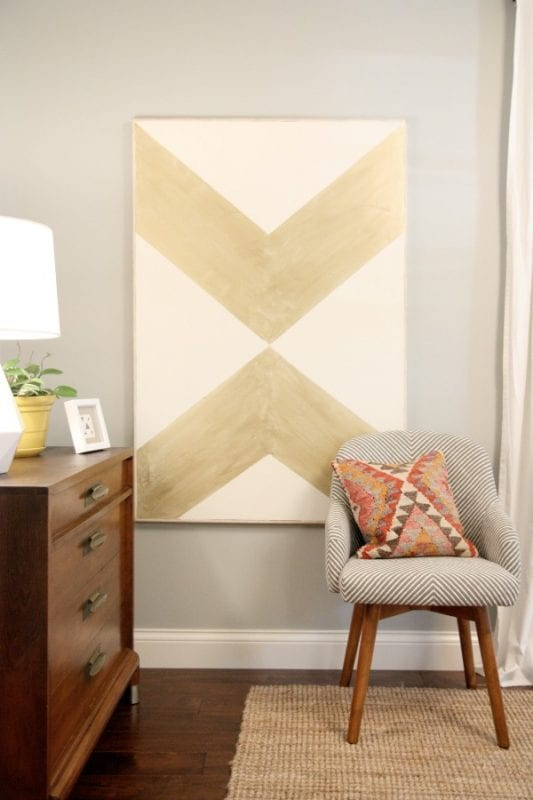 DIY Wall Decor Idea for Large Walls: large geometric graphic art over an existing painting (House Tweaking)