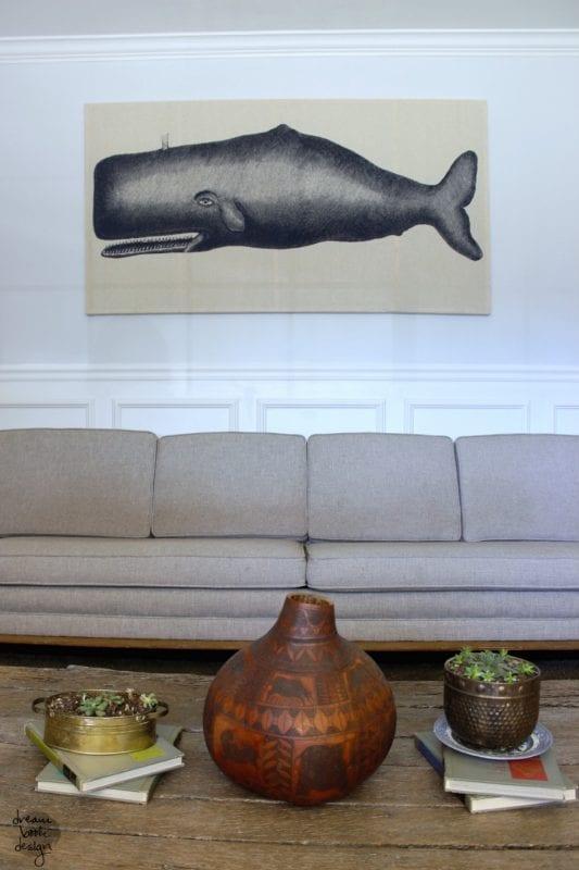 DIY Wall Decor Idea: large shower curtain wall art DIY (Dream Book Design)