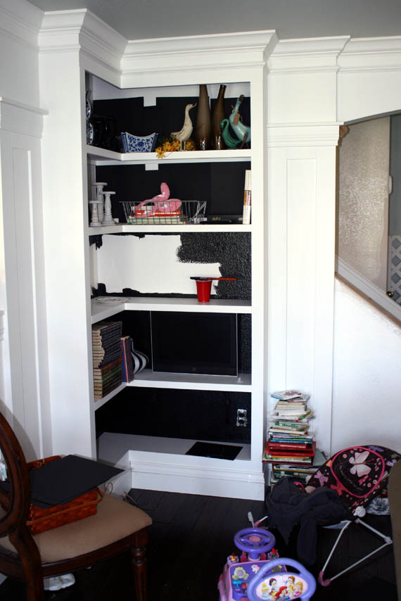 Paint Bookcase Interiors Black Test With Paper First To See How You Like It