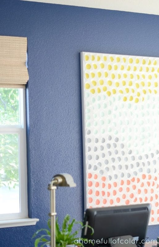 Easy Art Ideas for Kids Room Decor: painted baking cup wall art (A Home Full of Color)