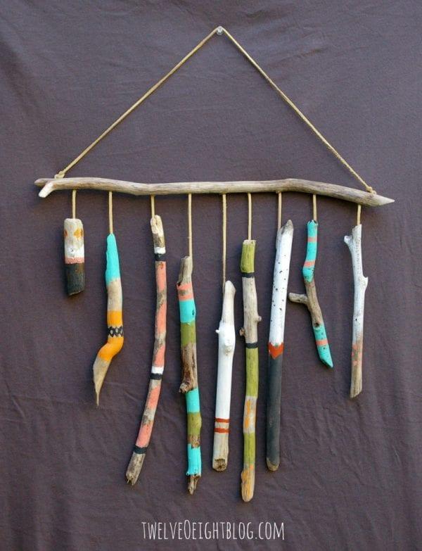 Easy Art Ideas for Kids Room Decor: painted driftwood wall hanging (twelveoeightblog)