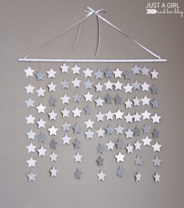 Easy Art Ideas for Kids Room Decor: paper star wall art easy diy (Just a Girl and Her Blog)
