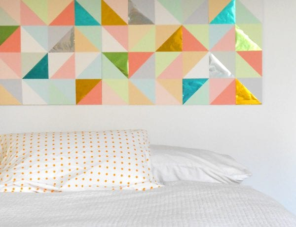 DIY Wall Decor: affordable paper patchwork geometric large wall art (tutsplus)