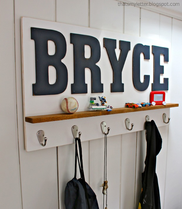 personalized wall shelf with hooks thats my letter - Personalized Wall Decor