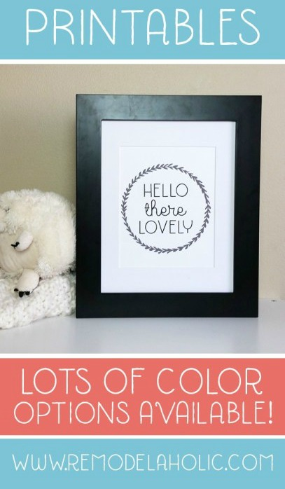 Printable Hello There Lovely Laurel Wreath In 4 Colors For Bedside Or Gallery Wall #remodelaholic