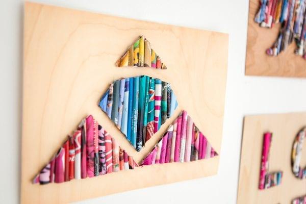 Easy Art Ideas for Kids Room Decor: rolled magazine wall art diy (Brit-co)