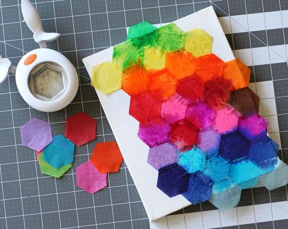 Easy Art Ideas for Kids Room Decor: tissue paper watercolor canvas (via Fiskars)