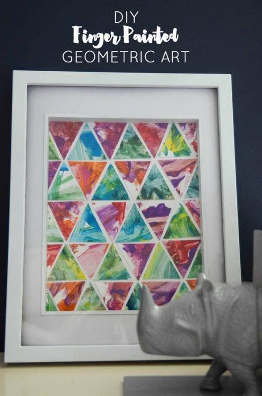 Easy Art Ideas for Kids Room Decor: toddler finger paint geometric art diy (Lemon Thistle)