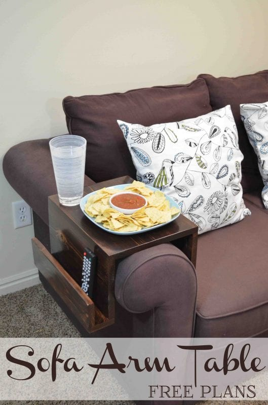 Need a little extra space for your game time snacks and drinks? Build this super easy sofa arm table to give you a stable surface all game long!