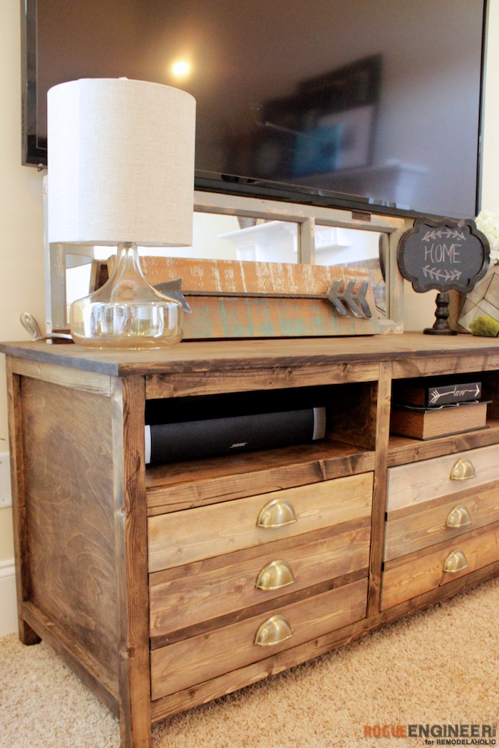 How to build a printmakers media console remodelaholic bloglovin - Media consoles for small spaces plan ...