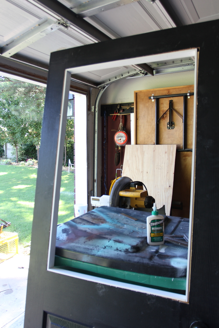 Remodelaholic How To Add A Glass Window To A Hollow Core Door