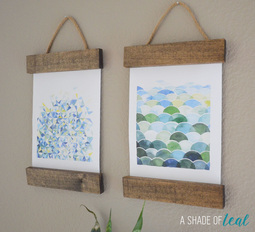 Design Diy Art Projects remodelaholic 6 easy diy art projects august link party wall way to hang a shade of teal